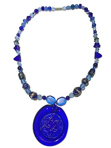 Blue Glass Star of David Necklace