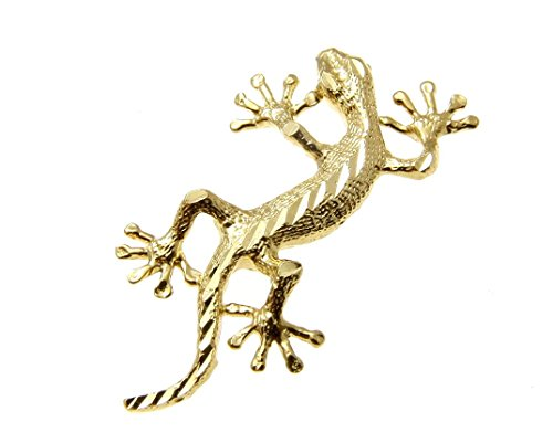 14K Solid yellow gold Hawaiian diamond cut gecko lizard charm pendant