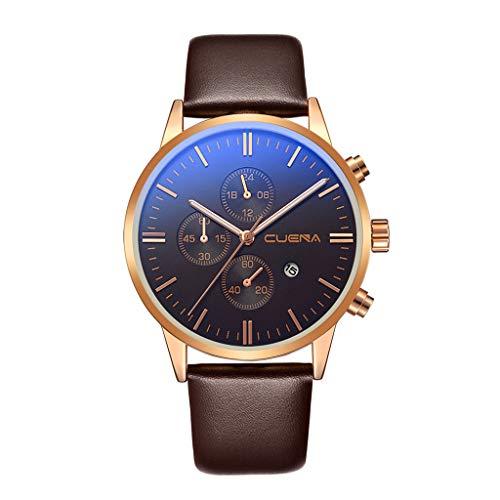 Men Women Quartz Business Watch Leather Band Watches Mens Blue Ray Glass Quartz Analog Watches with Calendar by [Mollikar]
