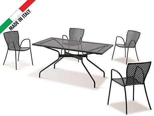 classic set tisch 160 x 80 mit 4 st hle metall anthrazit outdoor garten terrasse balkon design. Black Bedroom Furniture Sets. Home Design Ideas