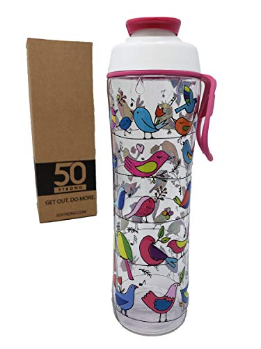 50 Strong BPA Free Gym Water Bottle with Ice Guard Flip Top Cap & Carry Loop - Cute Designer Prints - Perfect for Men, Women, Sports & Workout - 24 oz. - Made in USA (Pretty Birds, 24 oz.)