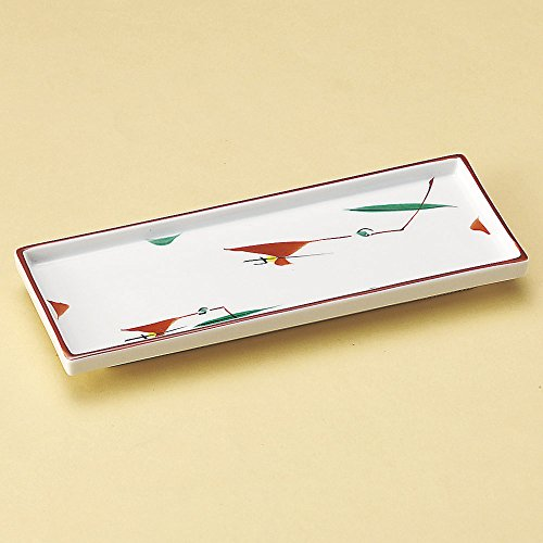 Protruding dish red papers tulipgrass projecting dish [ 21 x 8 x 1.8cm ] 290g Japanese dish plates traditional oriental asian