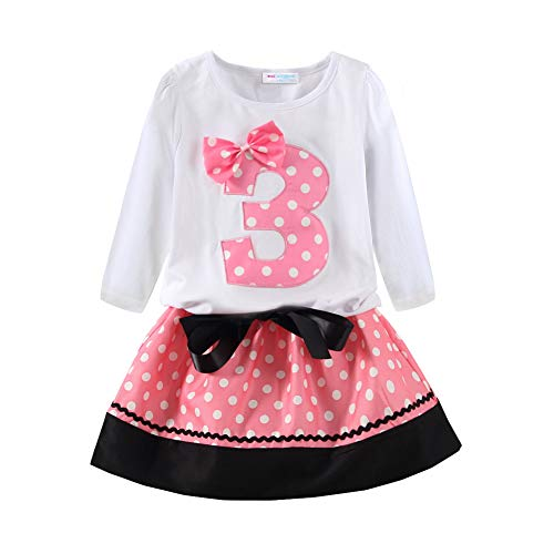 - Mud Kingdom Third Birthday Outfit Girl Cute 3 Long Sleeve Pink