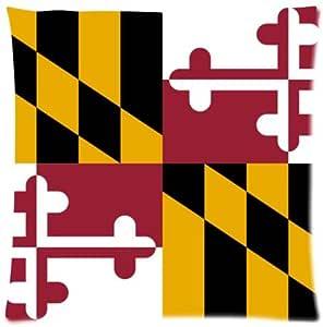 Suave Fundas De Almohada Decorativa Caso tamaño estándar 18x 18pulgadas Maryland Estado Bandera manta twin-sides impresión