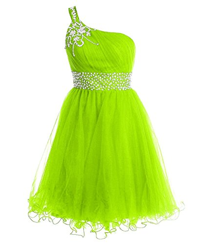 Promworld Women's One Shoulder Beaded Tulle Short Prom Dress Lime Green US16