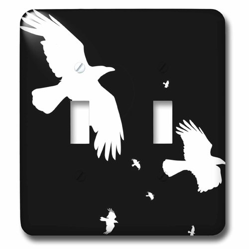 3dRose lsp_167489_2 A Murder, Halloween Crows in White Silhouetted On Black Toggle switch Multicolor -