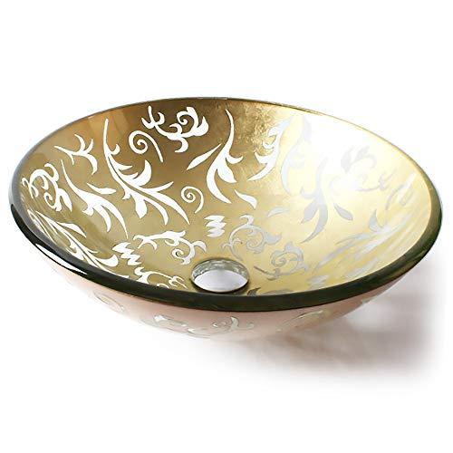 QJJML Glass Sink, Court Retro Style Round Hand-Painted Engraving Bathroom Creative Design Washbasin