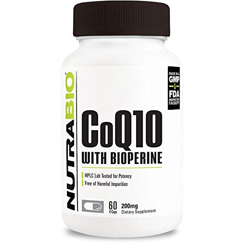 NutraBio CoQ10 Dietary Supplement with Bioperine (60 Capsules, 200mg)