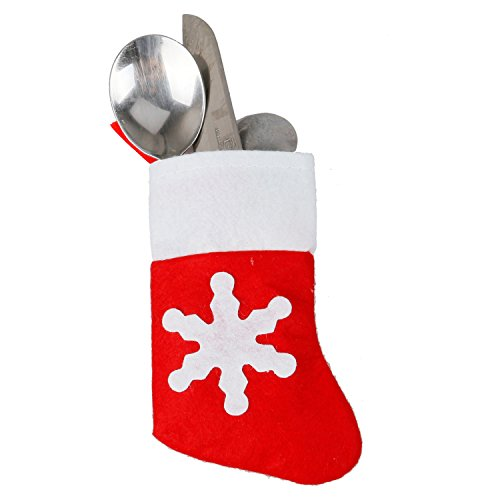 TRIXES Set of 10 Quirky Xmas Sock Christmas Dinner Cutlery Holders (Xmas Settings Table)