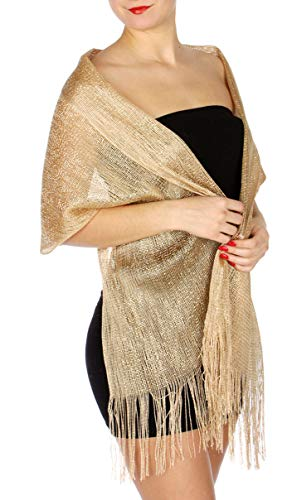 - Evening Shawls And Wraps for Dresses, Lightweight Metallic Fishnet Scarf, Beige/Gold