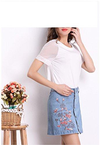 Jupe Jupe Femme Crayon Fleurs pour avec Jupes Stretch Deinim Pantalon Broder Denim Un Bleu Jupe FuweiEncore Jupe wvqxpp