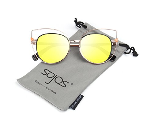 SojoS Vision Womens Stylish Flash Mirror Lenses Metal Frame Round Cat Eye Sunglasses SJ1031 With Gold Frame/Yellow - Glass Eye Latest Frames