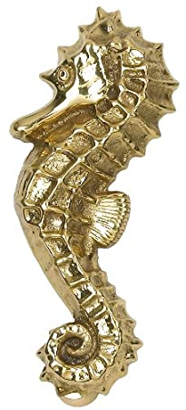 Sea Horse Door Knocker - Variety of Finishes (Polished Brass) Black Country Metal Works DK303/PBL