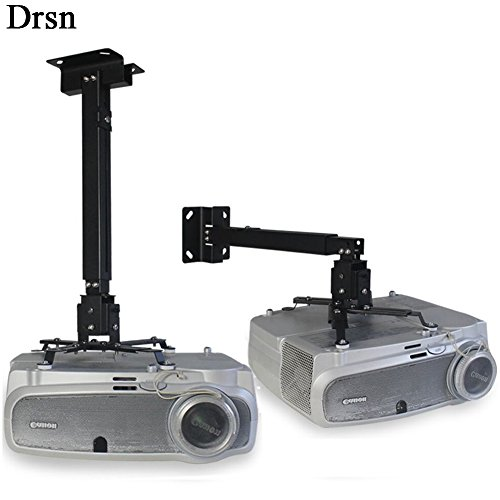 Drsn Universal Projector Ceiling Mount Adjustable Wall Mount Extendable Projector Mount White 16-25 inch 55lb Loading for LCD/DLP Ceiling Projector Epson Optoma Benq ViewSonic Black