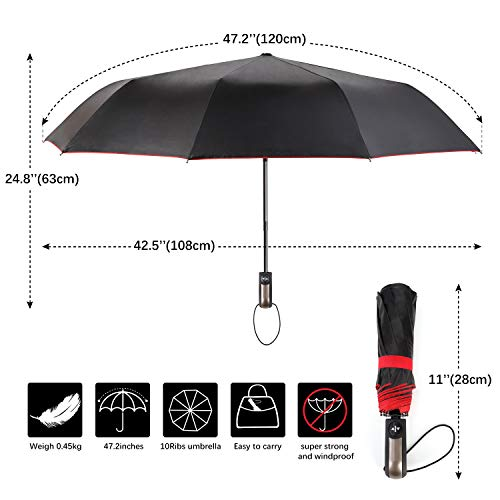 Travel Umbrella Windproof Double Canopy Vented Windproof, Waterproof Auto Open/close Umbrellas,Extra Large Oversize Travel Umbrella,Double Layer Anti-UV Umbrella. by XDSheng (Image #3)