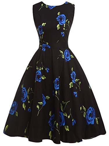 Vintage Dress Blue Party Black Swing Cocktail Bow Floral COUPLE DRT017 with Retro FAIRY 50s HEwx1q1TA