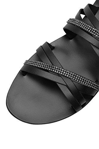 next Mujer Sandalias De Tiras Pedrería Piel Corte Regular Verano Calzado Negro