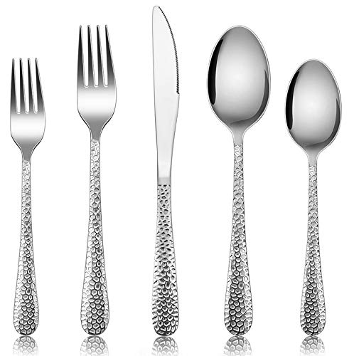 Silverware Set for 12, E-far 60-Piece Hammered Flatware Cutlery Set, Stainless Steel Eating Utensils for Kitchen Hotel…