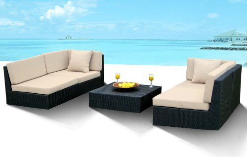 Outdoor Wicker Furniture New All Weather PE Resin 5pc Patio Deep Seating Sectional Sofa Set.