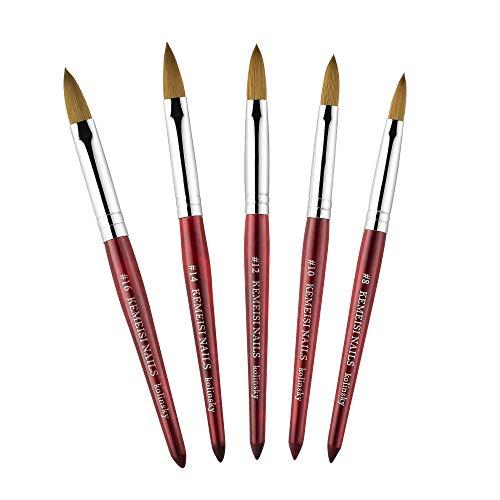 KEMEISI 1PC Kolinsky Sable Acrylic Nail Art Brush No.8/10/12/14/16 UV Gel Carving Pen Brush Liquid Powder DIY Nail Drawing (#08)