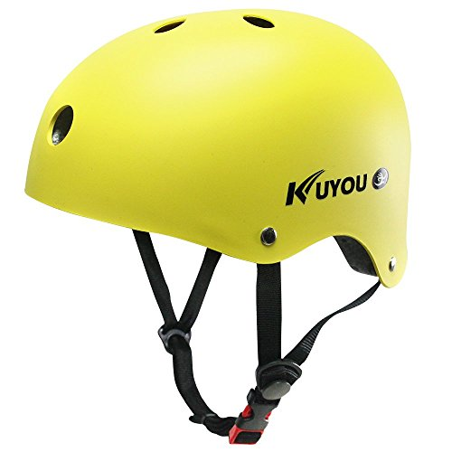 KuYou-Kids-Skateboarding-HelmetUltimate-Adjustable-ABS-Shell-for-Children-Cycling-SkateboardScooter-Skate-Inline-Skating-Rollerblading-Protective-Gear-Suitable-BoysGirlsS-Yellow