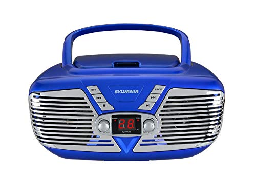 Sylvania Portable CD Boombox with AM/FM Radio, Retro Style, (Blue) (Renewed)