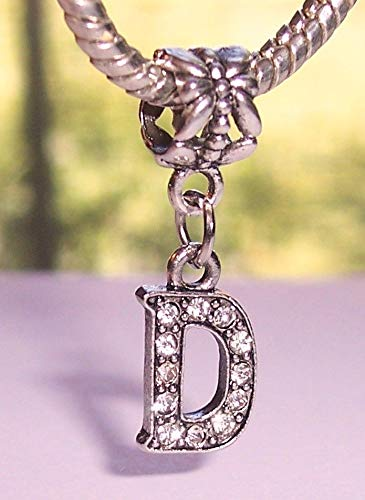 (Letter D Rhinestone Alphabet Initial Dangle Charm for European Bead Bracelets Crafting Key Chain Bracelet Necklace Jewelry Accessories Pendants)