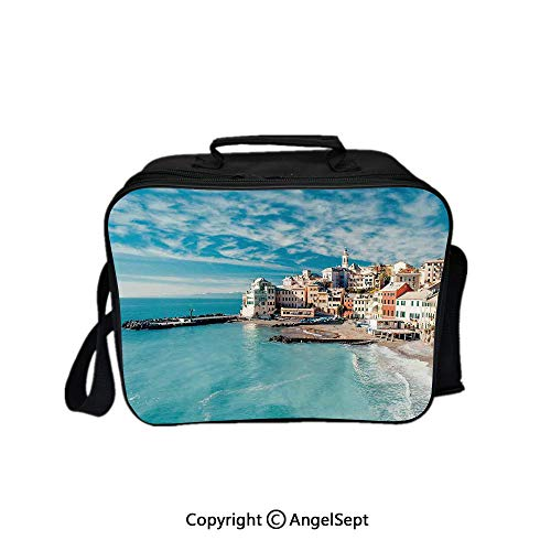 Lion Italian Charm - Multifunctional Lunch Bags for Women Wide Open,Panorama of Old Italian Fish Village Beach Old Province Coastal Charm Image Turquoise 8.3inch,Lunch Box With Double Deck Cooler Tote Bag