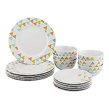 AmazonBasics 18-Piece Dinnerware Set - Bright Pyramid, Service for 6