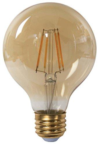 TCP LFG256025KAD New 60W Equivalent Single-Pack G25 Globe LED Filament Light Bulb, Dimmable, (Single Fluorescent All Glass Strip)