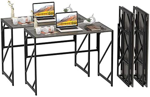 Elephance 40″ Folding Computer Desk No Assembly Needed Foldable Small Home Office Desk Study Writing Desk Gaming Table