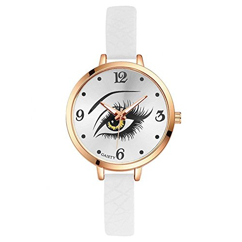 GAIETY Ladies Wrist Watch,PU Leather Band Eye Pattern Round Dial Fashion Casual, Quartz Wrist Watch for Women(White)