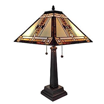 "Amora Lighting AM099TL14 Tiffany Style Mission Design Table Lamp, 22"""