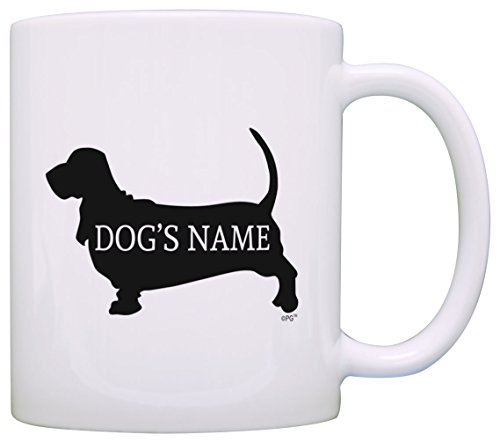 Personalized Dog Owner Gift Basset Hound Add Dog's Name Dog Lover Gift Coffee Mug Tea Cup White