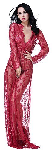 QinMi Lover Women's V Neck See-Through Lace Babydoll Nightwear Long Gown Lingerie Dress,Wine Red]()