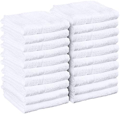 Utopia Towels White Salon Towels, (Not Bleach Proof, 16 x 27 Inches) Highly Absorbent Towels for Hand, Gym, Beauty, Hair, Spa, and Home Hair Care, (Pack of 24)