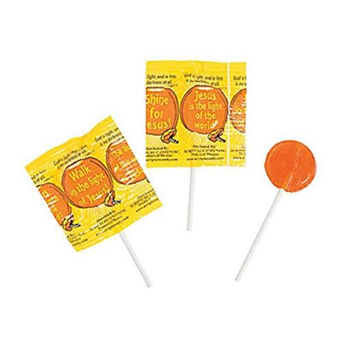 Religious Harvest Suckers Halloween Candy Lollipops Walk In Jesus Light Bulk 50 Count ()
