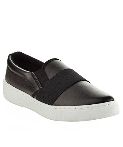 Slip Donna Lucido Moda Metallico Lucido Su Sneaker Bassa Piattaforma Flatform Nero