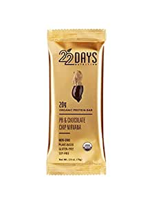 22 Days Nutrition, Organic Protein Bar, PB + Chocolate Chip Nirvana, 75g - 12 Count