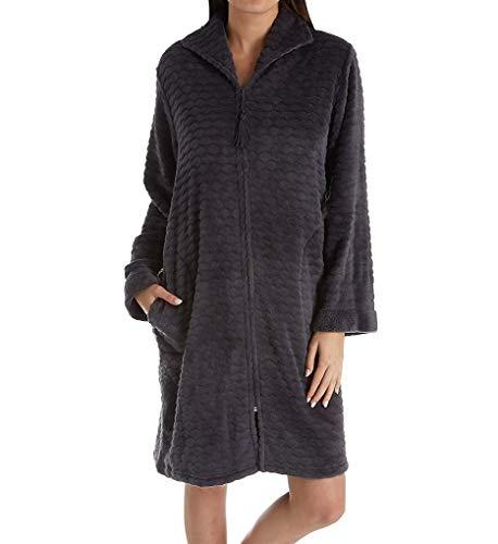 Miss Elaine Cuddle Fleece Short Zip Robe (831548) L/Charcoal Grey