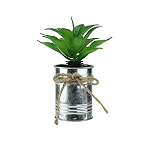 """Northlight 7"""" Green and Silver Colored Tropical Artificial Foliage in Tin Planter 59"""
