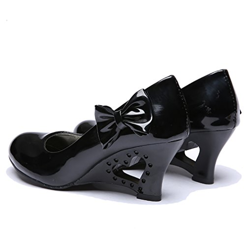 Blivener Womens Candy Colored Patent Leather High Heel Pump with Bow Black GKI7T