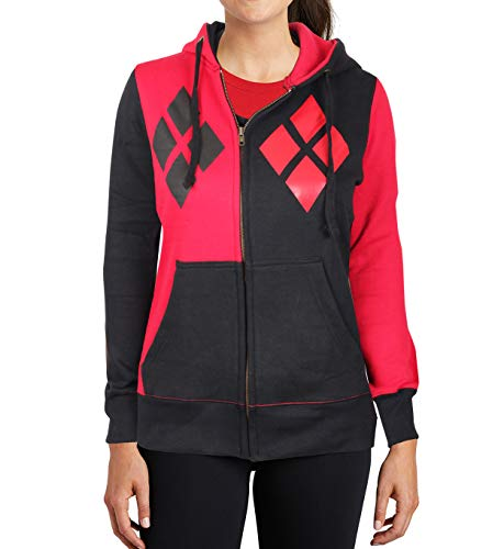 Harley Quinn Costume Zip up Hoodie - Womens Adult 100% Cotton Sweatshirt by Miracle (Red & Black, XX-Large)]()