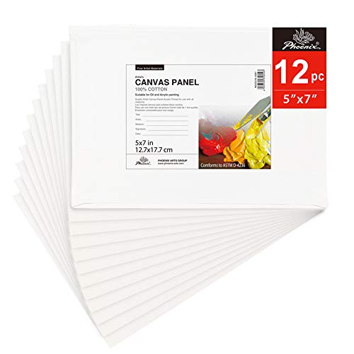 PHOENIX Painting Canvas Panel Boards - 5x7 Inch / 12 Pack - 1/7 Inch Deep Super Value Pack for Professional Artists, Students & Kids