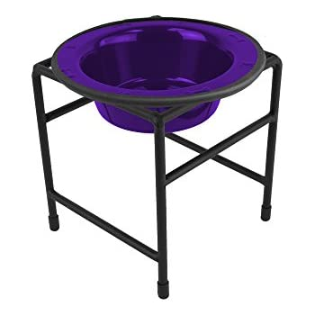Platinum Pets Single Diner Feeder with Stainless Steel Cat/Dog Bowl, 1.25 cup/10 oz, Electric Purple