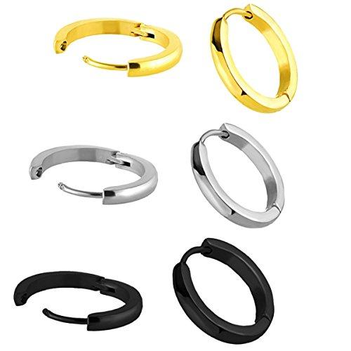 Delicate Hoop (Steel Delicate Tiny Huggie Hoop Tragus Earrings for Cartilage Piercing Mens Womens 6PC Mix 16mm 18gauge)