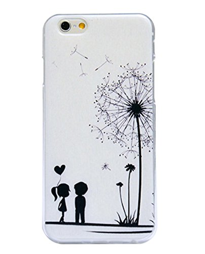iPhone 6S Plus Case,iPhone 6 Plus Case,UZZO Black And White Dandelion Pattern Ultra-Thin Flexible Soft TPU Gel Rubber Protective Back Case Cover For iPhone 6 Plus (2014) / 6S Plus (2015) (6 Case Iphone Ky)