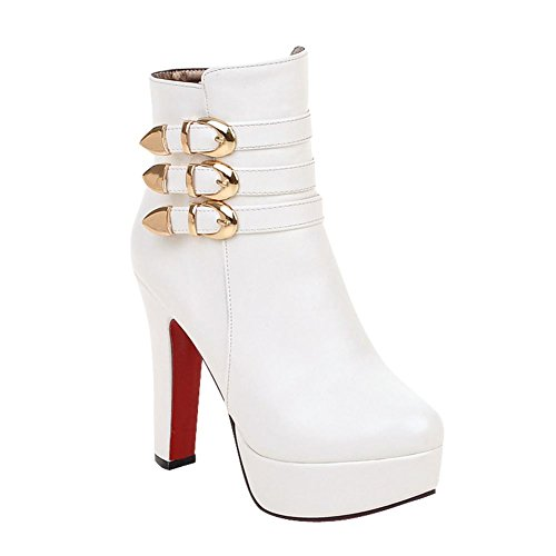 Short High Heel White Boots Women's Modern Carolbar Chic Buckle Zip Platform U8Apq6