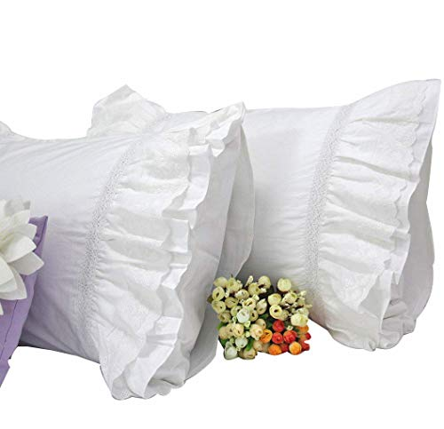 Queen's House Shams Cotton Lace White Pillowcases Set of 2-Queen Size,F