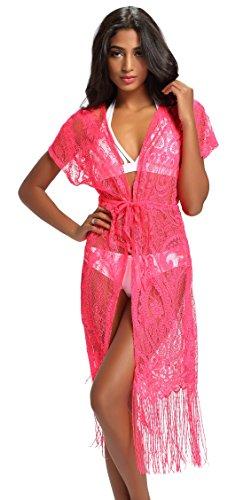 (Costyleen Summer Womens Beach Wear Cover up Swimwear Bikini Lace Floral Long Maxi Beach Dress Red L)